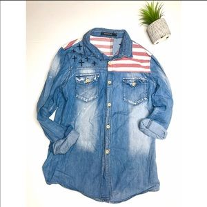 Chambray American Flag Distressed Button Down